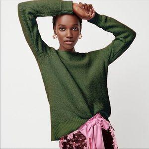 J. CREW Pine High Low Waffle Soft Knit Sweater